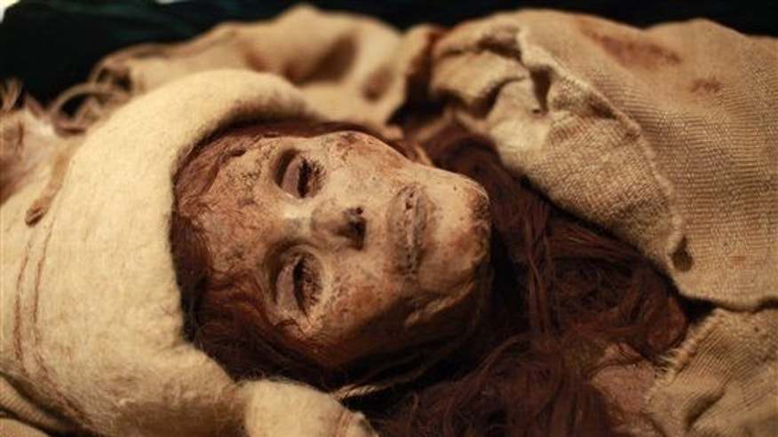 One of the ancient mummies discovered in China's Taklamakan Desert.