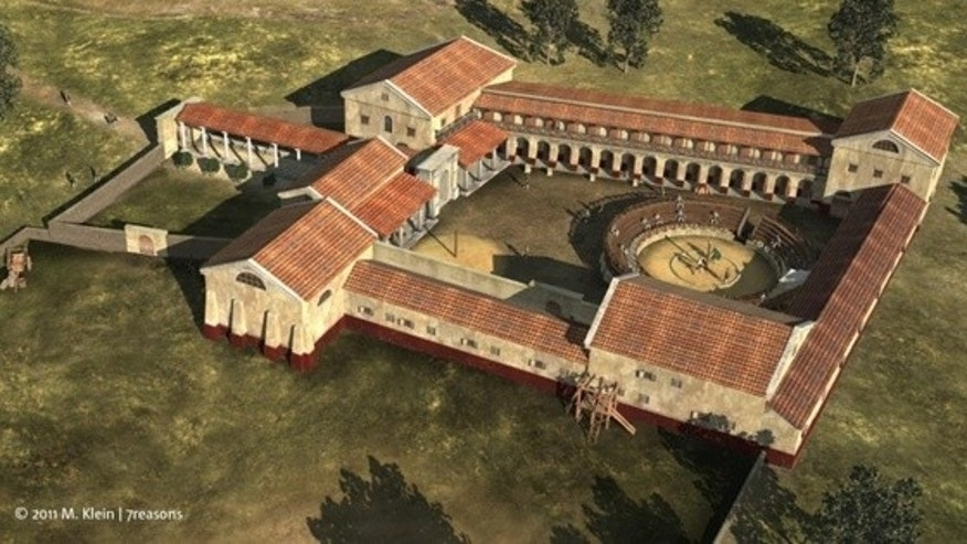This virtual reconstruction shows the gladiator school as viewed from the south.