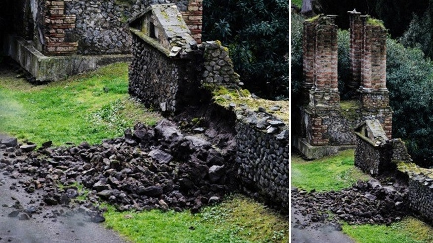 March 2, 2014: Bricks and rocks are seen on the ground after, according to Italian media, they collapsed from the Porta Nocera doorway, in the ancient Roman city of Pompeii, as a consequence of a rainstorm. Top Italian culture officials are calling for swift action to save Pompeii, the ancient Roman city encased in volcanic ash, from further ruin.