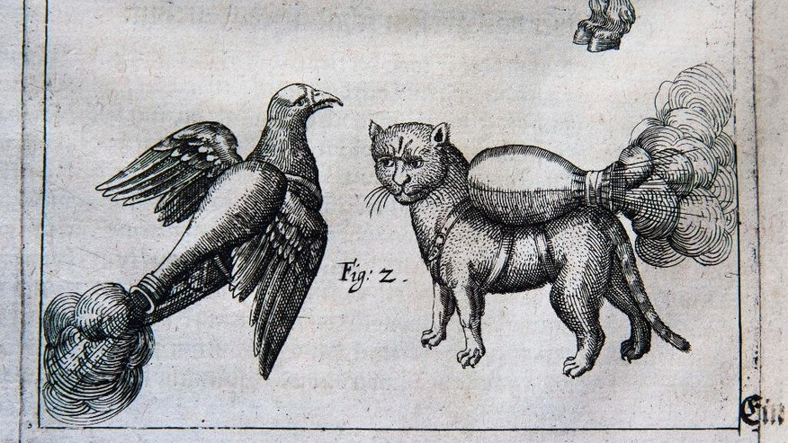 "In this Tuesday, March 4, 2014 photo is an illustration from a manual by 16th century artillery master Franz Helm at the University of Pennsylvania library in Philadelphia. The manual on artillery and siege warfare depicts a cat and dove strapped with bombs to ""set fire to a castle or city which you can't get at otherwise.""   (AP Photo/Matt Rourke)"