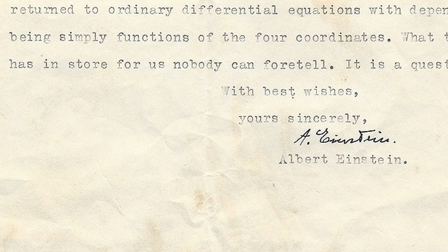 Einstein, writing on letterhead from the Institute for Advanced Study at the School of Mathematics, where he worked after settling in New Jersey following his exodus from Europe in 1933, explained that the main question in his mind at the time was whether the properties of space has four variables or eight. (Courtesy: The Raab Collection)