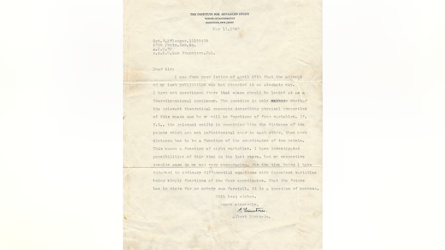 The previously-unpublished letter, dated May, 11, 1945, contained the world-renowned scientist's response to a group of soldiers with the 26th Photographic Reconnaissance Squadron who interpreted Einstein's recent article in Science Digest to suggest that instead of the four-dimensional universe he had postulated in 1915, there were in fact perhaps as many as eight.  (Courtesy: The Raab Collection)