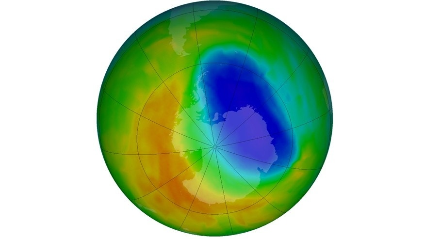 A false-color view of total ozone over the Antarctic pole is seen in this NASA handout image released October 24, 2012.