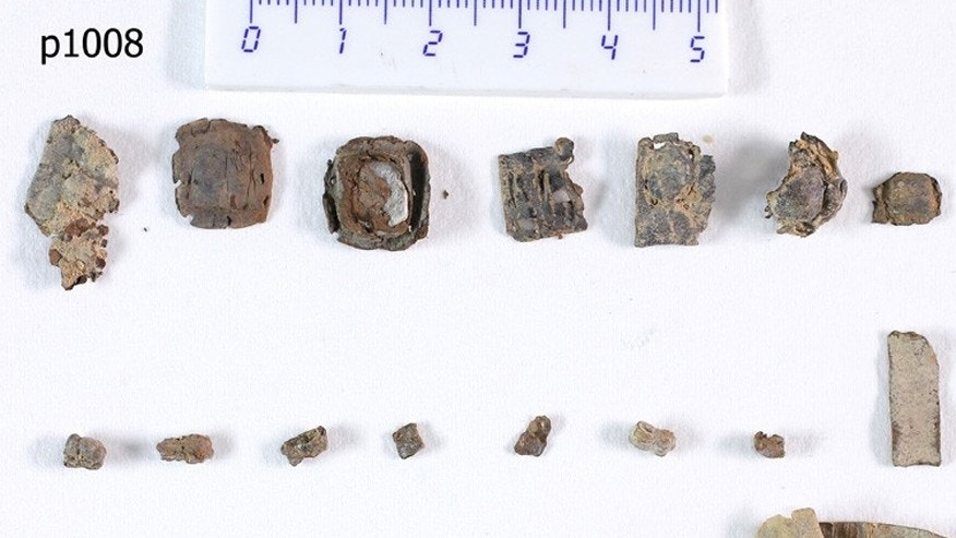 Seven of the recently rediscovered unopened phylactery scrolls from Qumran.
