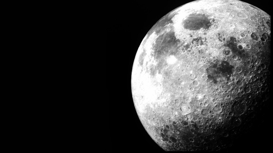 After Apollo 12 left lunar orbit on November 24, 1969, this image of the moon was taken from the command module.