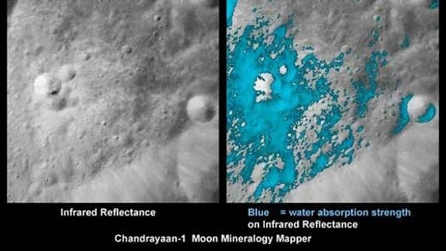 These images show a very young lunar crater on the side of the moon that faces away from Earth, as viewed by NASA's Moon Mineralogy Mapper on the Indian Space Research Organization's Chandrayaan-1 spacecraft. On the left is an image showing bri