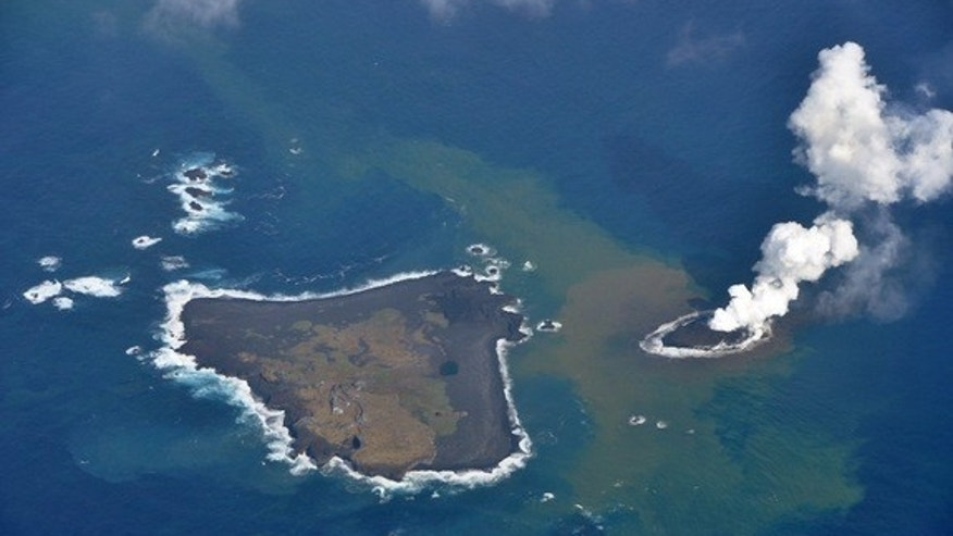 A new volcanic island, called Nishino-shima, emerged from the ocean on Nov. 20, 2013.