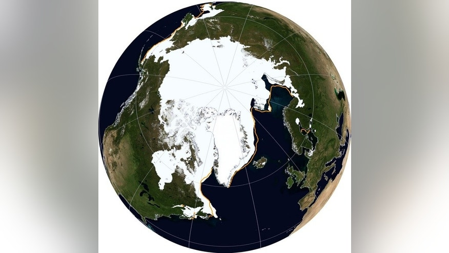 A satellite view of Arctic sea ice on March 21, 2014.