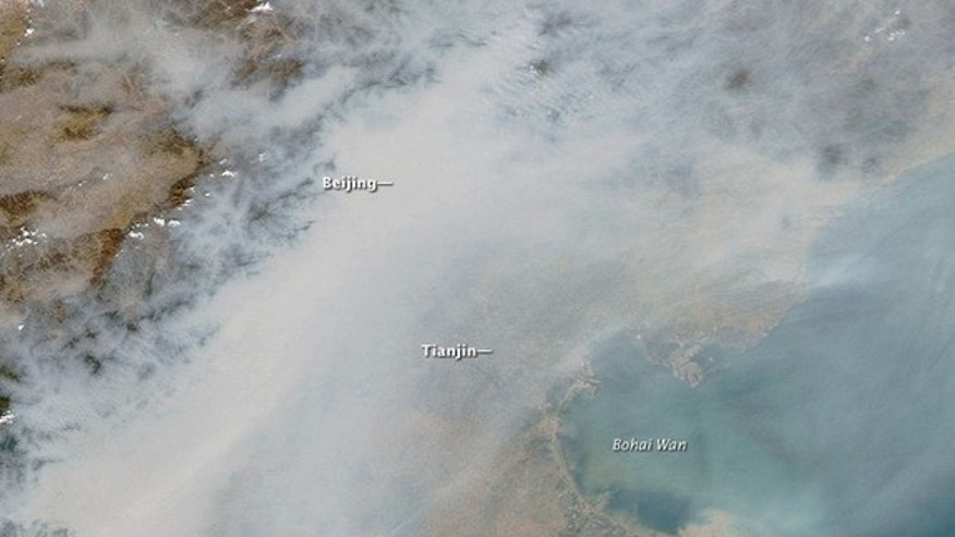 Beijing was completely obscured by air pollution on Oct. 9, 2010.