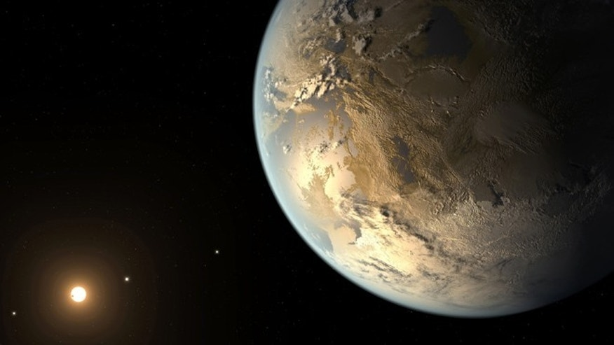 April 17, 2014: This artist's rendering provided by NASA on shows an Earth-sized planet dubbed Kepler-186f orbiting a star 500 light-years from Earth. Astronomers say the planet may hold water on its surface and is the best candidate yet of a habitable planet in the ongoing search for an Earth twin.