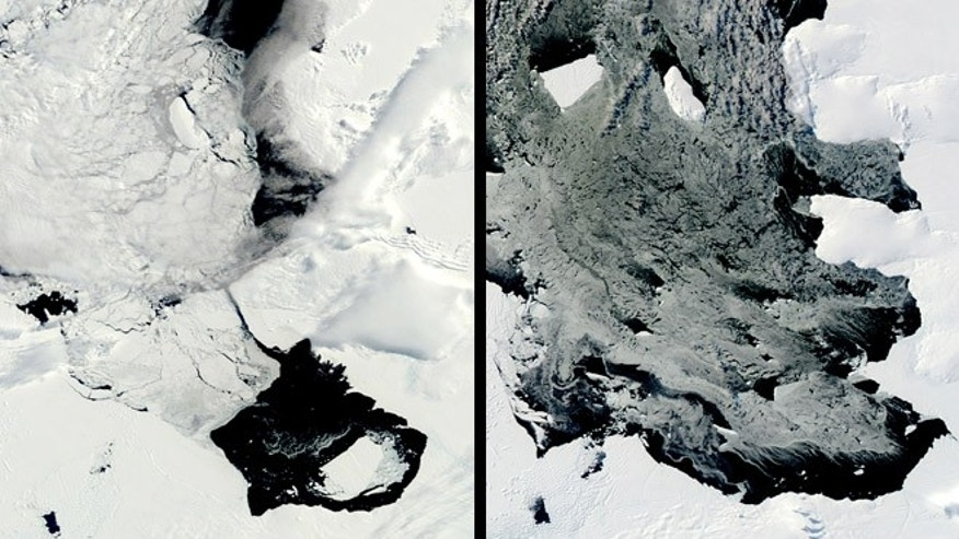 This combination of Dec. 10, 2013, left, and March 11, 2014 photos provided by NASA shows a large iceberg separating from the Pine Island Glacier and traveling across Pine Island Bay in Antarctica. Scientists are watching the iceberg, which is bigger than the island of Guam, as it slowly moves away from the glacier, bottom right in December, upper left center in March.