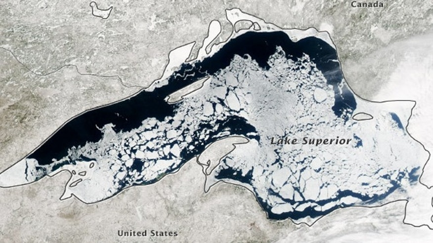 April 20, 2014: A NASA-satellite image of ice cover on Lake Superior.