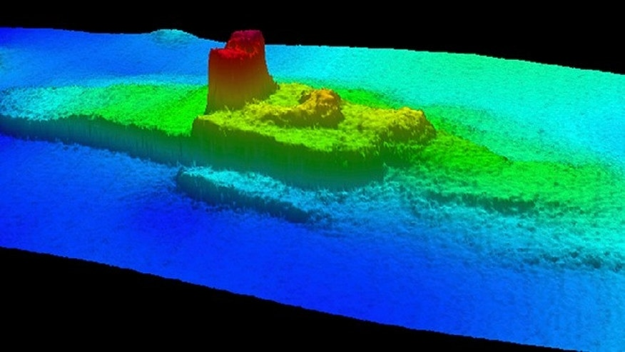 This 2013 image provided by the National Oceanic and Atmospheric Administration (NOAA) shows a multi-beam sonar profile view of the shipwreck of the iron and wood steamship City of Chester. In 1888 on a trip from the San Francisco bay to Eureka, the Chester was split in two by a ship more than twice its size, killing 16 people and becoming the bay's second-worst maritime disaster.