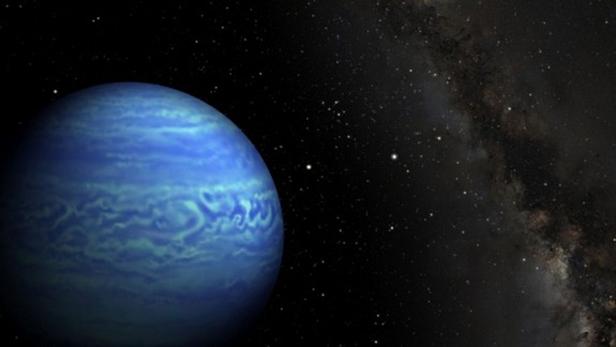 This artist's conception shows a newfound object named WISE J085510.83-071442.5, the coldest known brown dwarf.