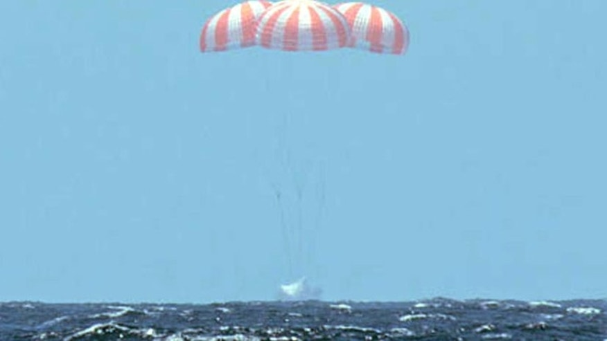 May 18, 2014: This photo provided by SpaceX shows SpaceX's Dragon spacecraft splashing down after it successfully completed the CRS 3 mission for NASA, landing safely, in the Pacific Ocean with 3,500 pounds of ISS cargo.
