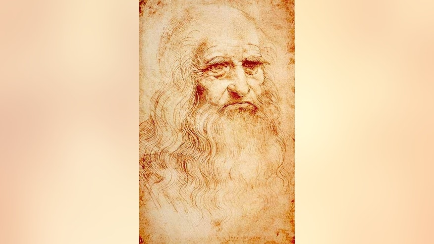 A self-portrait of Leonardo da Vinci done in red chalk.