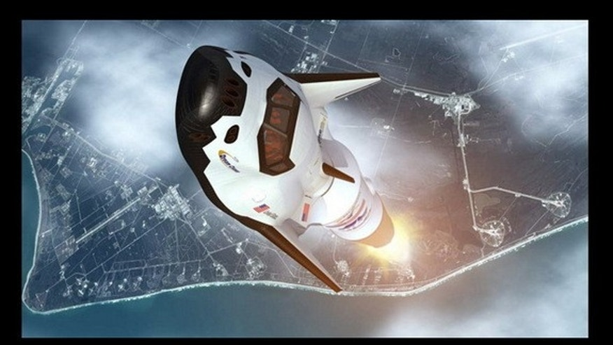 This illustration shows the Dream Chaser vehicle launching into space.