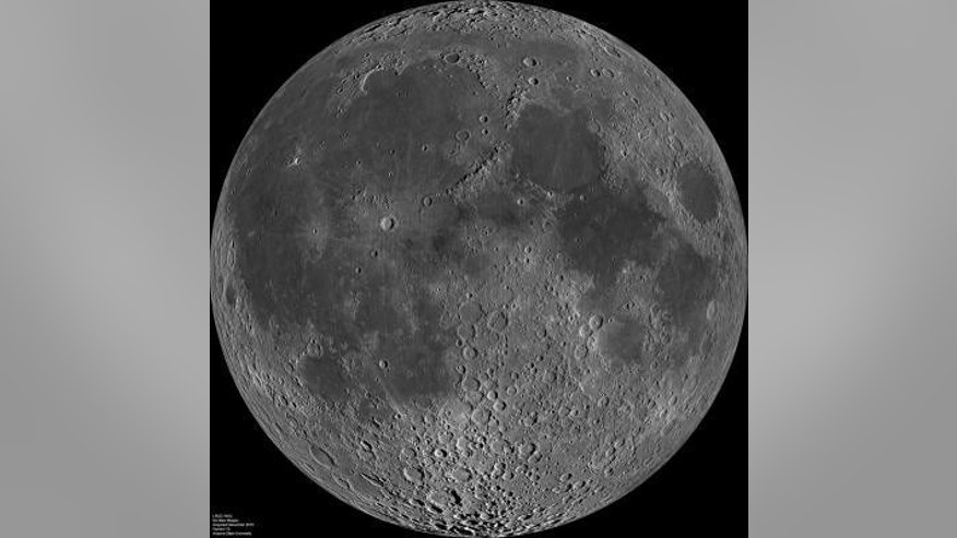 This is a composite image of the lunar nearside taken by the Lunar Reconnaissance Orbiter in June 2009, note the presence of dark areas of maria on this side of the moon.