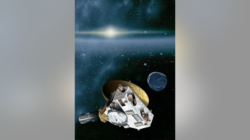 Artist's concept of the New Horizons spacecraft encountering a Kuiper Belt object beyond Pluto. The sun, more than 4.1 billion miles away, shines as a bright star embedded in the glow of the zodiacal dust cloud. Jupiter and Neptune are visible