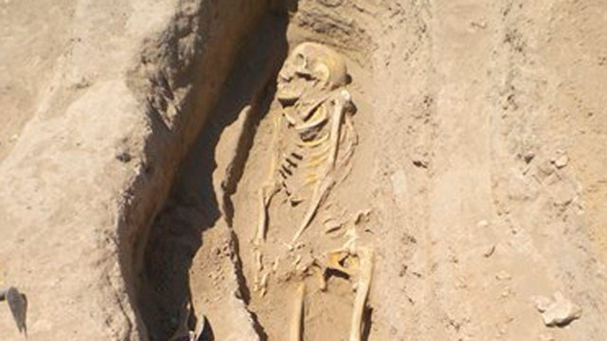 June 19, 2014: A skeleton in a grave in northern Syria in 2010.