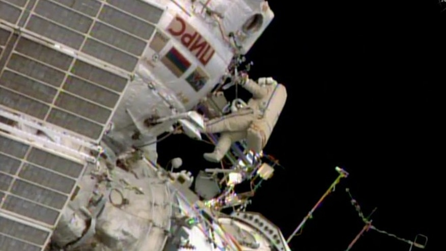June 16, 2014: Russian space station crew member Oleg Artemiev floats outside the International Space Station during a spacewalk by two Russians.
