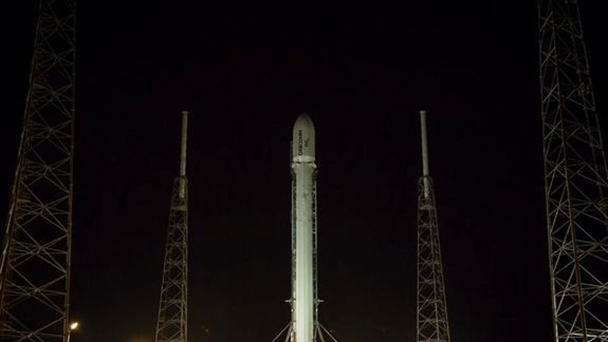 SpaceX tweeted this photo of the Falcon 9 rocket vertical on the launch pad on the day it will launch the Orbcomm OG2 satellite from Cape Canaveral, Florida, June 20, 2014.