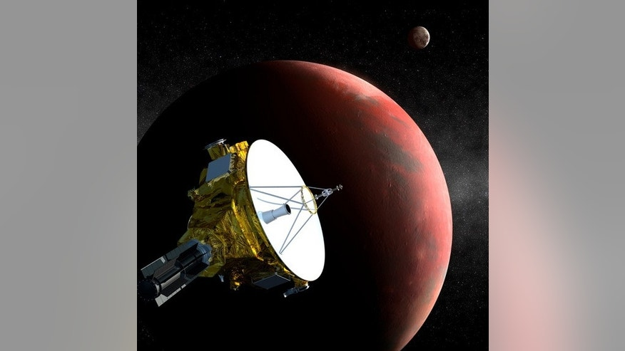 An artist's image of the New Horizons spacecraft as it approaches Pluto and its moon Charon in July 2015.
