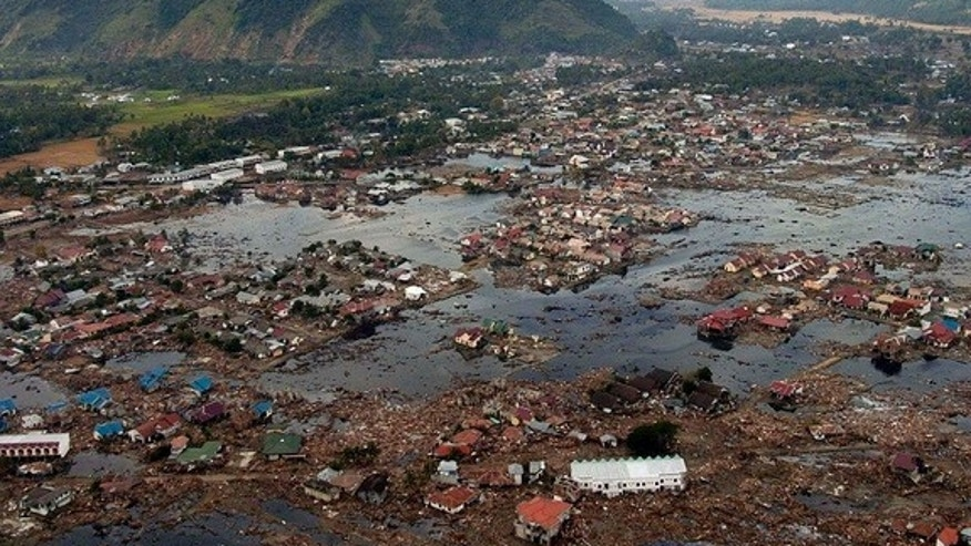 Tsunamis, like the one that stuck Aceh, Indonesia, can cause serious flooding and submerge entire villages.