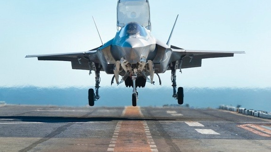 An F-35 fighter jet completes a test landing aboard the USS Wasp in October 2011.