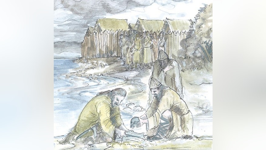 An illustration of Bronze-Age lake dwellers in Switzerland and Germany, who may have buried children's skulls at the perimeter of their settlements as gifts to lake gods to ward off flooding.