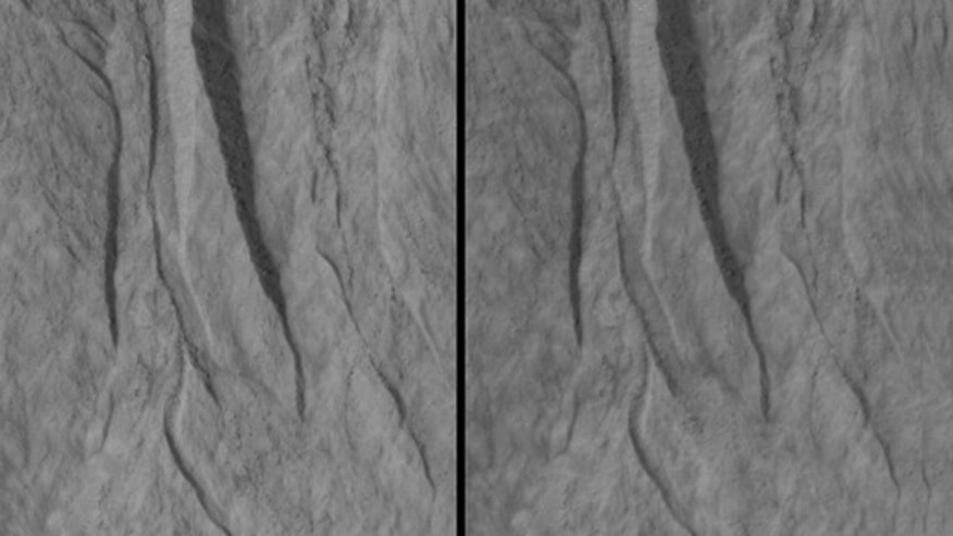 This pair of images covers one of the hundreds of sites on Mars where researchers have repeatedly used the High Resolution Imaging Science Experiment (HiRISE) camera on NASA's Mars Reconnaissance Orbiter to study changes in gullies on slopes.