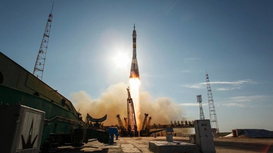 May 15, 2012: The Soyuz TMA-04M rocket launches from the Baikonur Cosmodrome in Kazakhstan carrying Expedition 31 Soyuz Commander Gennady Padalka, NASA Flight Engineer Joseph Acaba and Flight Engineer Sergei Revin to the International Space Station.