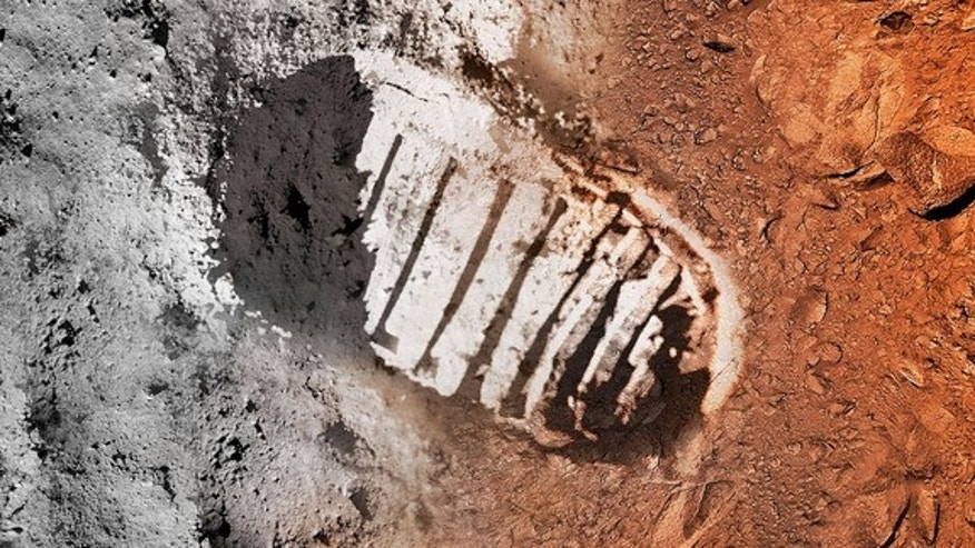Artist's concept of a boot print on the moon and on Mars.