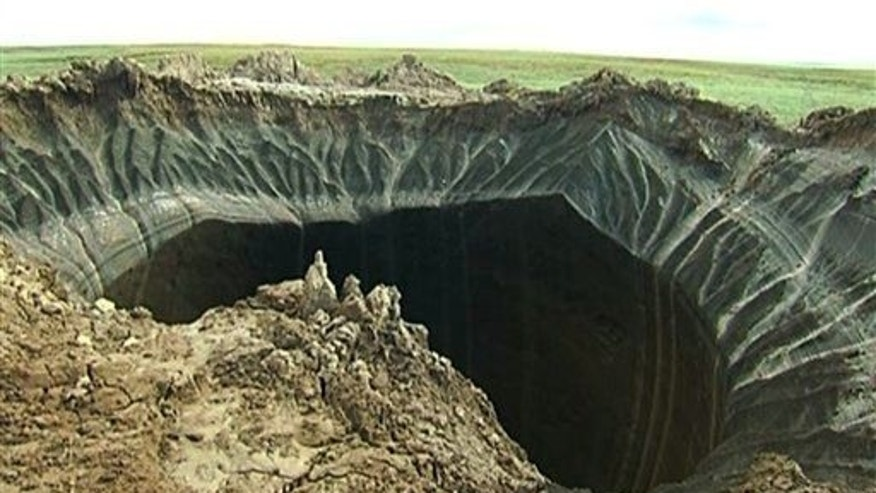 A crater discovered recently in the Yamal Peninsula in Yamalo-Nenets Autonomous Okrug, Russia.