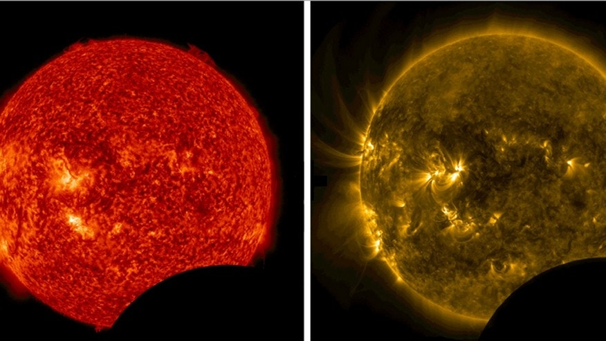On July 26, 2014, from 10:57 a.m. to 11:42 a.m. EDT, the moon crossed between NASAs Solar Dynamics Observatory and the sun, a phenomenon called a lunar transit. This happens approximately twice a year, causing a partial solar eclipse that can only be seen from SDO's point of view. Images of the eclipse show a crisp lunar horizon, because the moon has no atmosphere that would distort light.