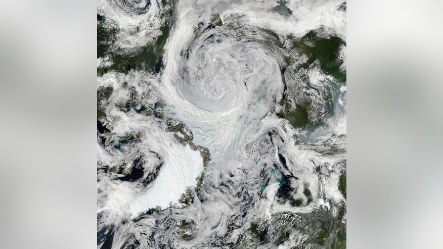 An Arctic storm captured by satellite in natural light on Aug. 6, 2012.