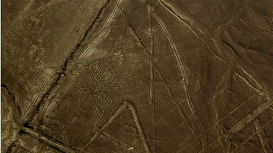 "A figure known as ""the spider"" is seen center left in the zone known as the Nazca lines in Peru's coastal Nazca Desert."