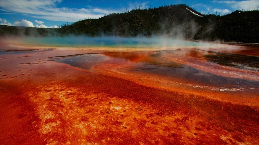 The Grand Prismatic Spring, the largest in the United States and third largest in the world, is seen in Yellowstone National Park, Wyoming.