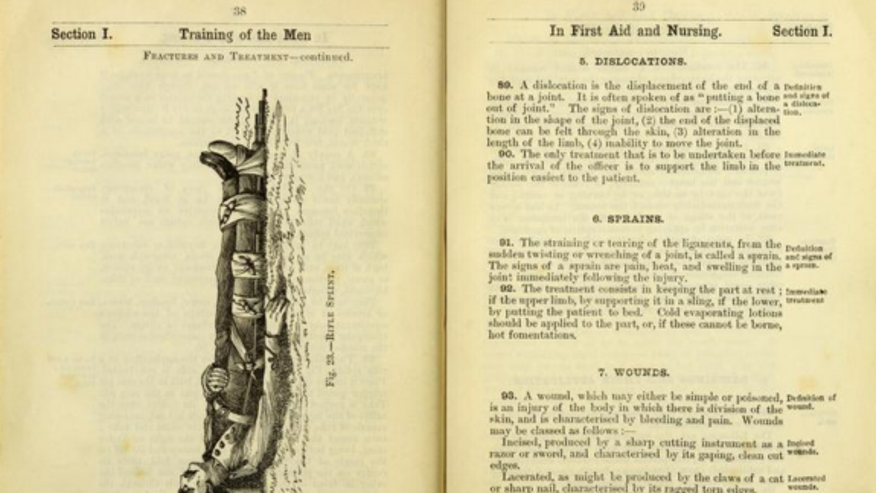 "The British Army's ""Manual for the Medical Staff Corps"" (1893) shows how a rifle could easily be made into a splint."