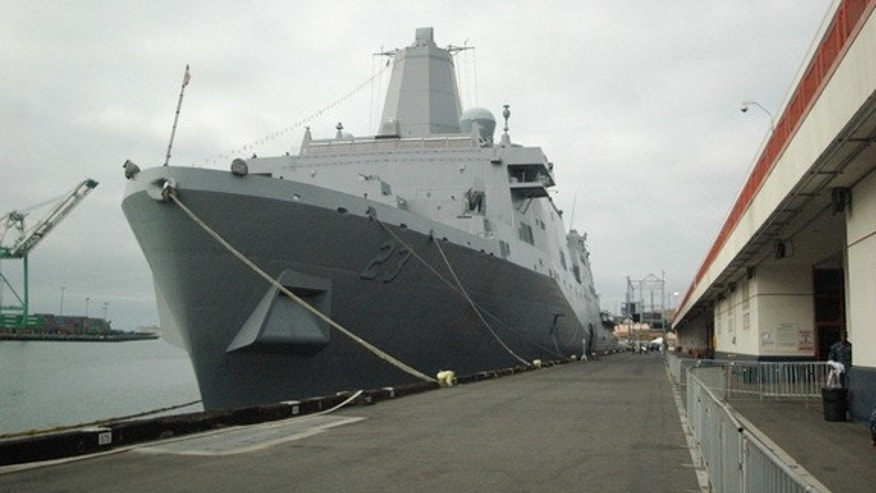 The recovery tests for Orion were conducted from the USS Anchorage, seen here in port in San Pedro, Los Angeles. The USS Anchorage is a U.S. Navy amphibious transport ship that first sailed in 2013.