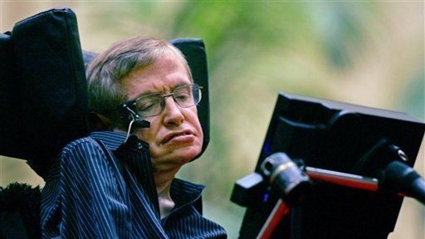In this June 19, 2006 file photo, Stephen Hawking speaks at an international gathering of scientists at Beijing's Great Hall of the People in China.