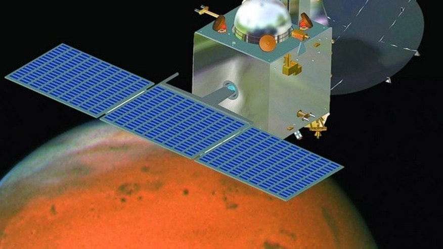 An artist's view of India's first Mars probe, the heart of the Mars Orbiter Mission, in orbit around the Red Planet. India's first Mars orbiter will arrive at its target on Sept. 24, 2014.