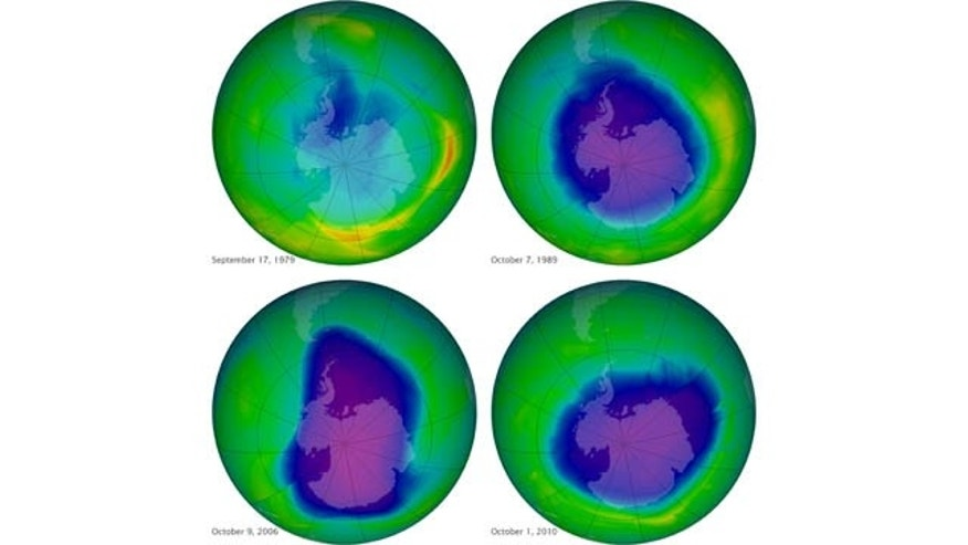 This undated image provided by NASA shows the ozone layer over the years, Sept. 17, 1979, top left, Oct. 7, 1989, top right, Oct. 9, 2006, lower left, and Oct. 1, 2010, lower right. Earth's protective, but fragile ozone layer is finally starting to rebound, says a United Nations panel of scientists. (AP Photo/NASA)