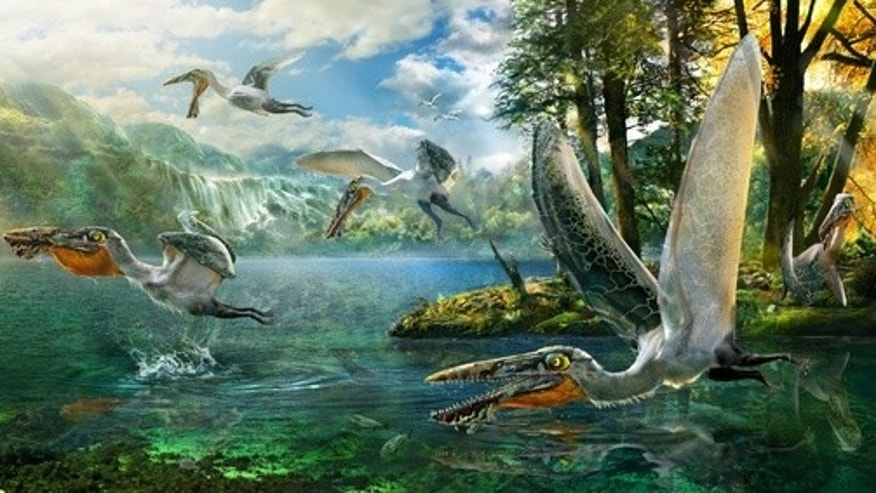 The remains of an extinct flying reptile (shown here in a reconstruction) that lived some 120 million years ago reveal the creature had a wingspan of 4.9 feet.