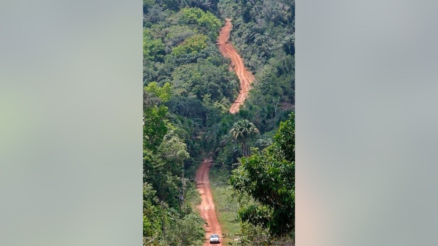 A road crosses the dense Amazon rain forest near the northern city of Manaus, Brazil.