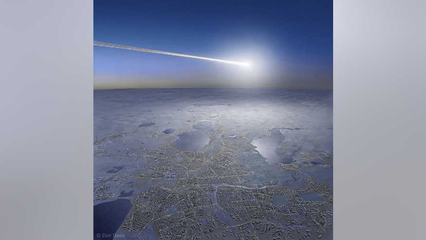 "Artist's view of 2013 fireball explosion over Chelyabinsk, Russia — termed a ""superbolide"" event."