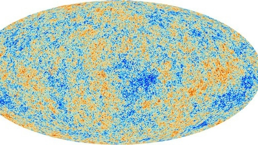Map showing the tiny variations in the cosmic microwave background (CMB) observed by Europe's Planck satellite.