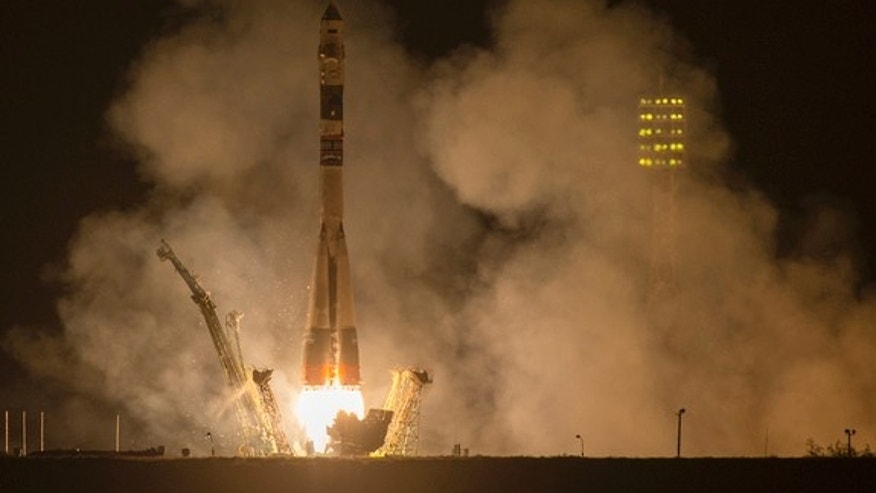 A Soyuz TMA-14M spacecraft launches on time carrying a new Expedition 41 trio to their new home on orbit. Liftoff occurred on Sept. 26, 2014 from the Baikonur Cosmodrome in Kazakhstan.