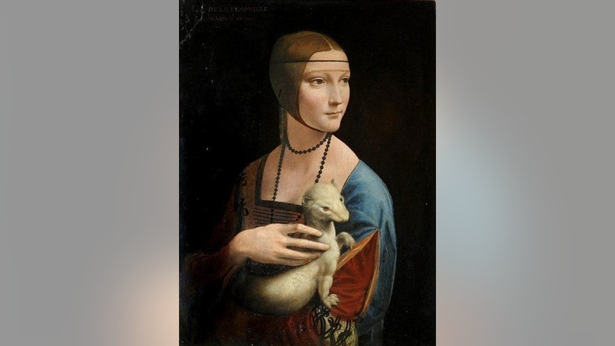 "In this April 12, 2011, file photo, a Leonardo da Vinci painting entitled ""The Lady With an Ermine"" is seen during a presentation by art conservators at the Royal Castle in Warsaw, Poland."