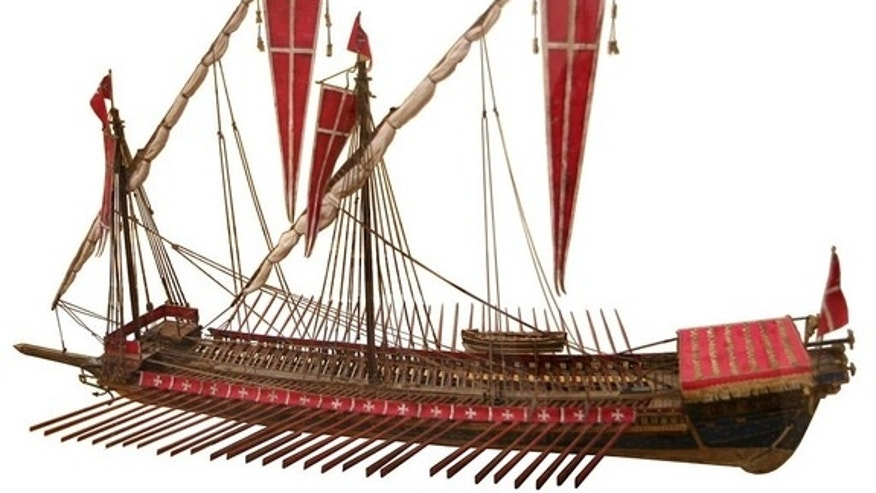 The pirates who stole a dead bishop's treasure aboard the São Vicente ship in the 14th century likely used a galea sotile galley. Shown here, a model of a Galley of the Order of the Knights of St. John (Knights hospitaller), Malta.